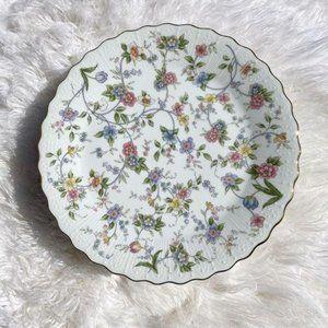 Vintage Andrea Pedestal Floral Cake Plate Gold Rim
